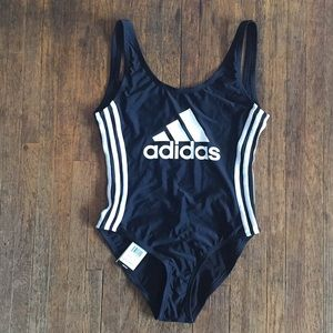 NEW Adidas Solid Logo One-Piece Swimsuit (women)